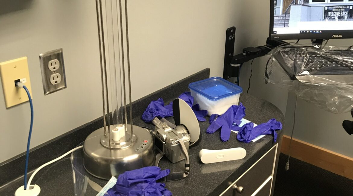 Covid-19 room sterilization and pre-appointment safety set-up.